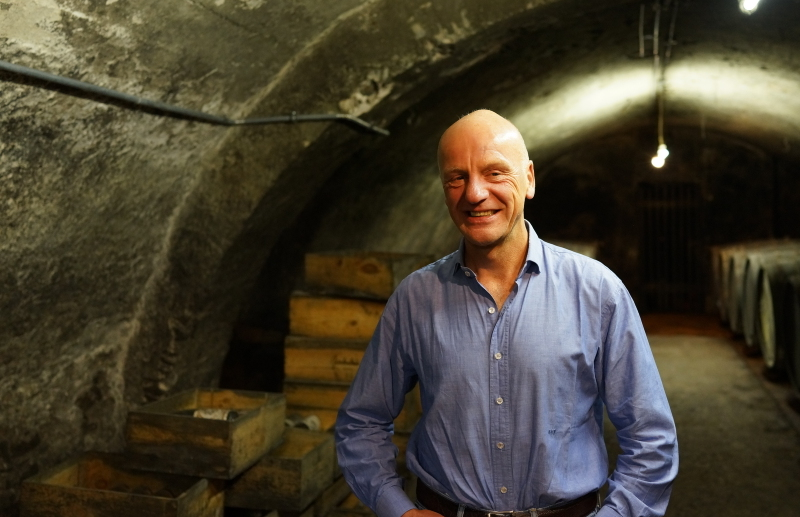 Egon Muller in the winery cellar