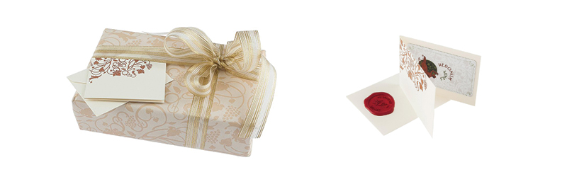 Wrapping paper and ribbon with a gift message