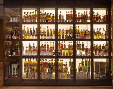 The rare spirits cabinet at Hedonism Wines