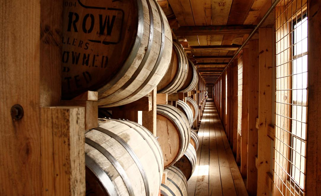 Barrels ageing in a rickhouse